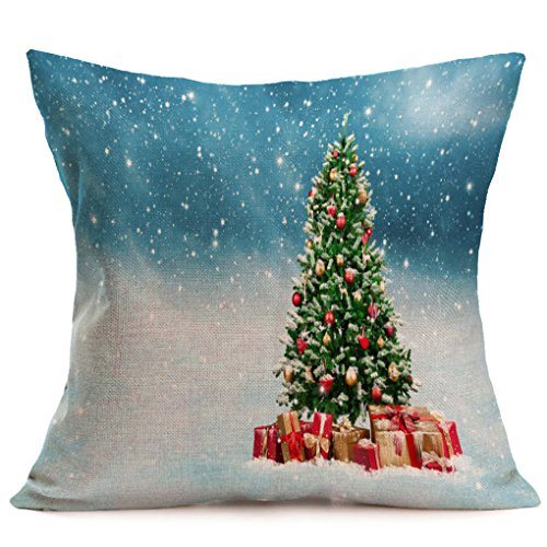 Fall Decorative Pillow (Pillow Cover,Haoricu Vintage Christmas Cartoon Smowman Penguin Sofa Bed Home Decoration Festival Pillow Case Cushion Cover)