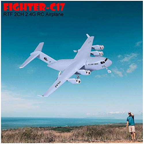 Hopwin Remote Control Plane   Rc Aircraft for Adults and Kids Ready to Fly Airplane   C-17 2.4GHz 2CH 3-Axis Electric 2 Channel RTF Controlled Planes (White)