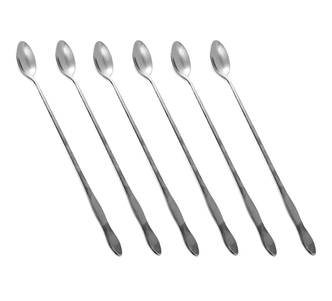 HornTide 6-Piece Mixing Spoon Set 10-Inch 26cm Long Handle Spoons for Ice Cream Cold Drink Fruit Juice Cocktail Stirring and More - Stainless Steel Mirror Polishing SYNCHKG108192