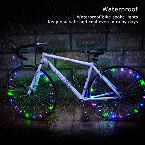 allnice Bike Wheel Lights Waterproof 20LED Bike Spoke Lights USB Rechargeable Colorful Cycling Lights Bicycle Tire Accessories for Night Riding Safety Warning and Decoration (Multicolor, 1 Pack) by allnice (Image #2)