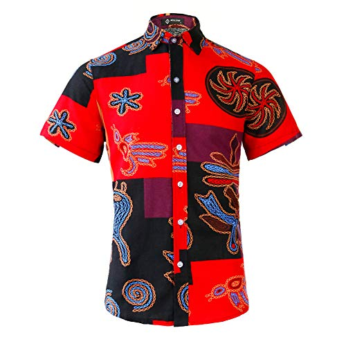 MCULIVOD Men's Printing Short Sleeve Casual Button Down Shirt Red,X-Large