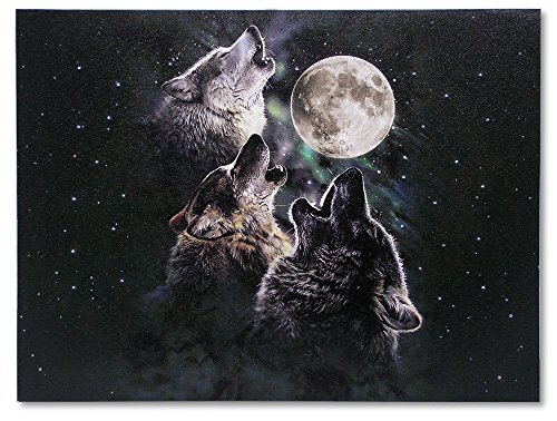 Wolf Moon Pictures (Three Wolves Howling LED Canvas Print - 3 Wolves Howling at the Moon and Starry Night Sky Scene - 16 x 12 Inch)