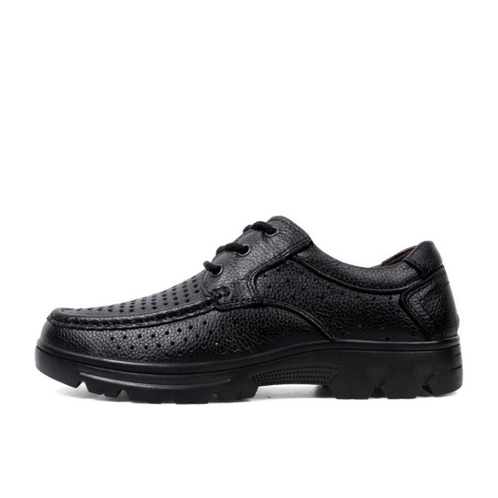 CAI Herrenschuhe 2018 Sommer Sommer Sommer Herren atmungsaktiv Deo hohl große Größe Schuhe weichen Boden Leder Vater Schuhe Mode Männer Schuhe (Farbe   Schwarz, Größe   45) b56946