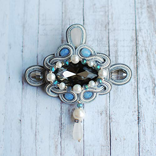 (Soutache handmade silver gray light blue blue white triangle brooch with rhinestones, Beaded embroidered big coctail luxurybrooch, Fabric oriental ethnical boho bohemian crystals jewelry)