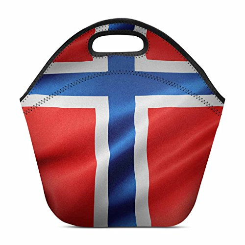 - InterestPrint Waving Norway Flag Lunch Bag Waterproof Neoprene Gourmet Insulating Lunch Tote Portable Lunchbox Handbag 11.93