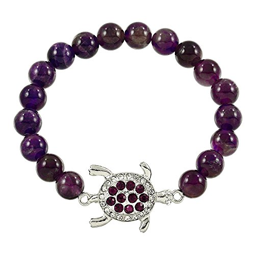 - Falari Turtle Crystal Lucky Charm Natural Gemstone Bracelet Amethyst B0280-AM