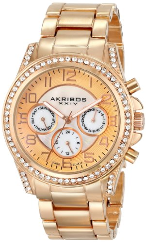 Akribos XXIV Women's AK683RG Ultimate Swiss Quartz Multifunction Crystal Mother-of-Pearl Rose-tone Bracelet Watch