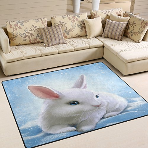 ALAZA Happy Easter White Rabbit Bunny Area Rug Rugs for Livi