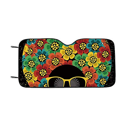 70s Party Decorations Durable Car Sunshade,Abstract Woman Portrait Hair Style with Flowers Sunglasses Lips Graphic Decorative for car,55