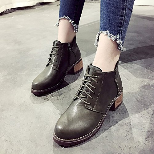 rough Boots Ankle Boots Women's Martin High Boots Heeled green and EUR37 Shoes Shoes with wpYz1