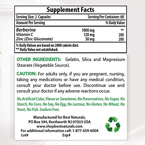 Best Naturals Berberine Plus 1000 mg/Serving 120 Capsules - Berberine for Healthy Blood Sugar (3 Pack) by Best Naturals (Image #1)