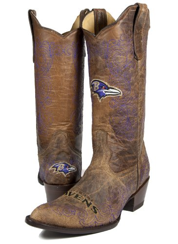 NFL Baltimore Ravens Women's Flyer Pull Up Western Boot, Brown, 9.5