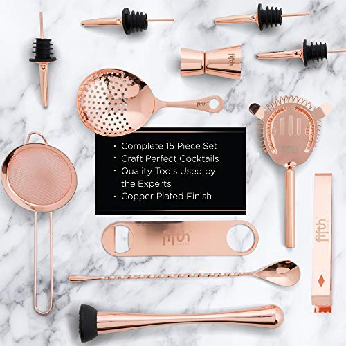 Copper Cocktail Shaker Set​ for Bar Kit, Stainless Steel ​& Glass - ​Complete​ 15 Piece ​Boston Bartending Mixology Kit​ with Tin Shakers, Strainers, Jigger, Muddler, and Accessories for Mixed Drinks by Fifth Label (Image #3)