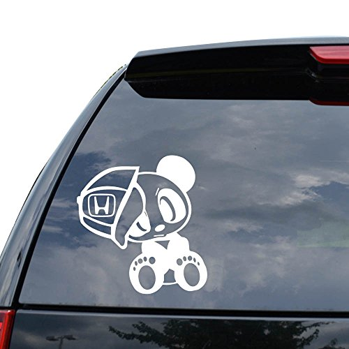 CUTE PANDA BABY BEAR JAPANESE JDM Decal Sticker Car Truck Motorcycle Window Ipad Laptop Wall Decor - Size (07 inch / 18 cm Tall) - Color (Gloss WHITE)