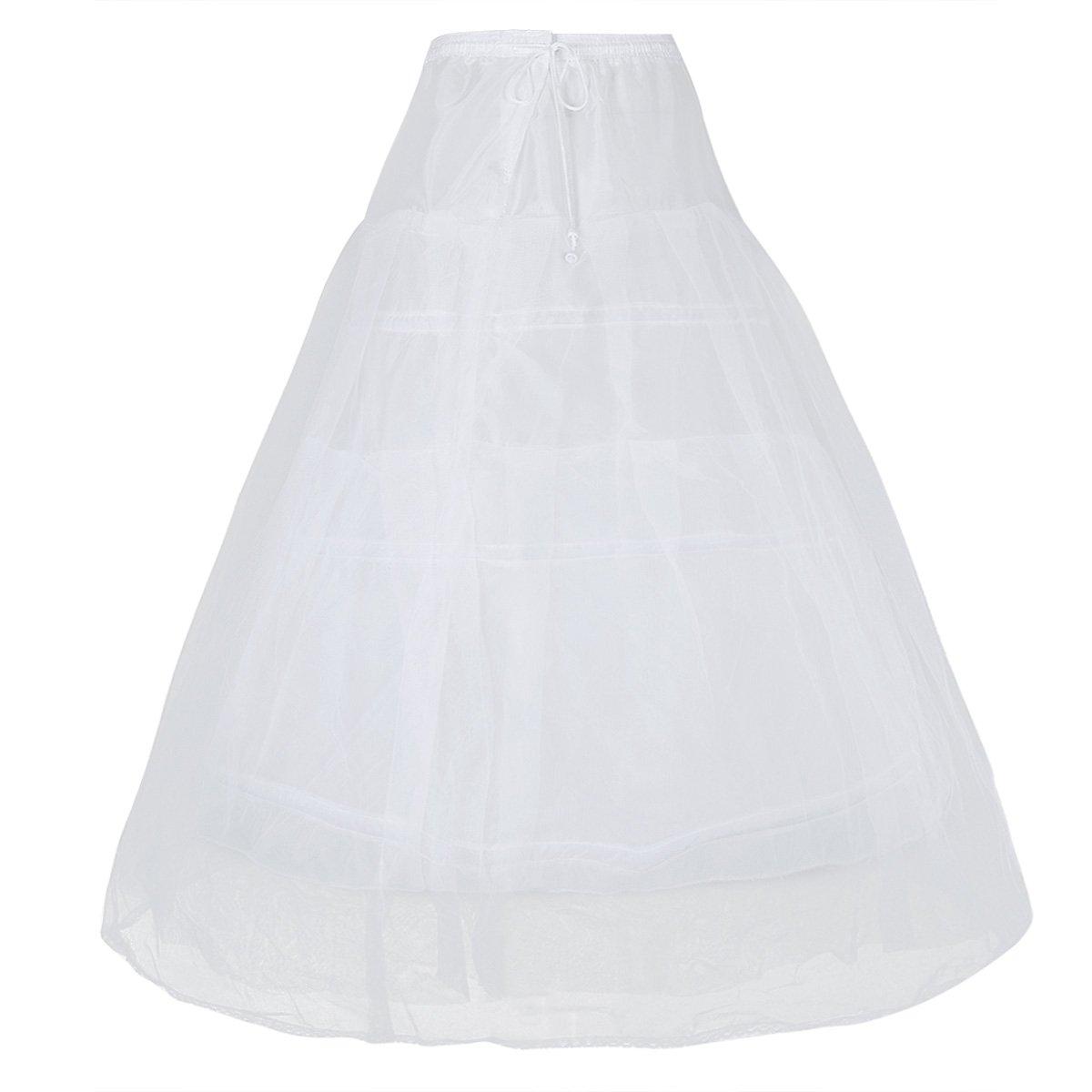 FEESHOW Girls Women 3 Hoops Underskirt Petticoat Children Slips Crinoline Skirt for Wedding Party #32 for Women One Size