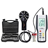 ERAY Digital Anemometer Wind Speed Gauge Handheld Air Velocity Flow Volume Meter with Backlight LCD Display, Suitcase and Battery Included