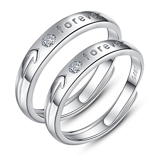 Forever Love Ring (925 Sterling Silver Arrow Engraved Forever Love Adjustable Couple CZ Rings (female))