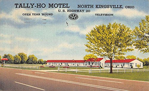 kingsville-ohio-tally-ho-motel-street-view-linen-antique-postcard-k21214