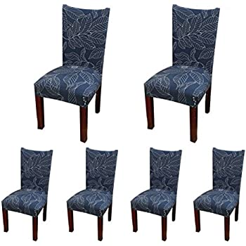 6 X Soulfeel Soft Spandex Fit Stretch Short Dining Room Chair Covers With Printed Pattern
