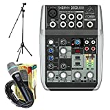 Package - Behringer Xenyx Q502USB Premium 5-Input 2-Bus Mixer + 1 EMB Emic800 Microphone + 1 Microphone Stands