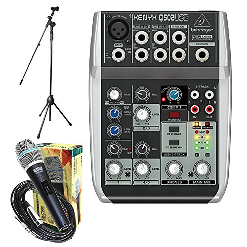 Package - Behringer Xenyx Q502USB Premium 5-Input 2-Bus Mixer + 1 EMB Emic800 Microphone + 1 Microphone Stands by Package