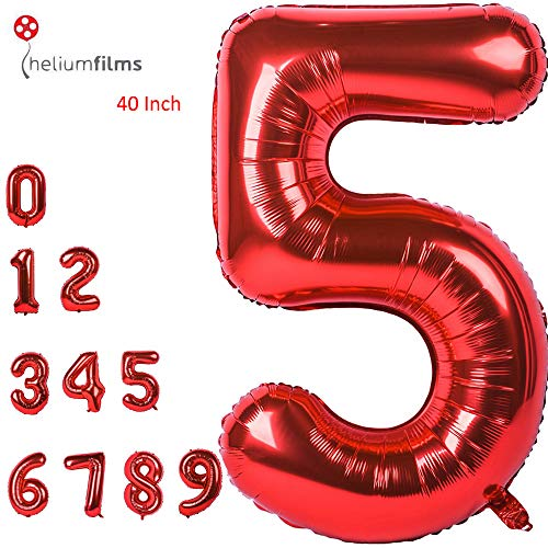 Large Number 5 Balloons Red Giant Helium Big Foil Mylar Balloons Birthday Party Decorations Wedding Decor 40 Inch (Number ()