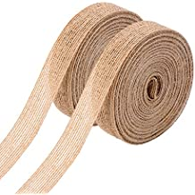 Pangda 2 Rolls Natural Burlap Fabric Ribbon Roll for Wedding Events Party and Home Decor, 10 Meters Each Roll