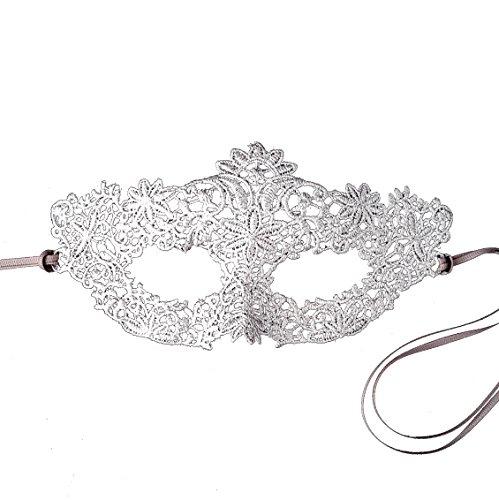 [Stunning Silver All Lace Coachella Masquerade Mask Prom - British Co] (Silver Mask)