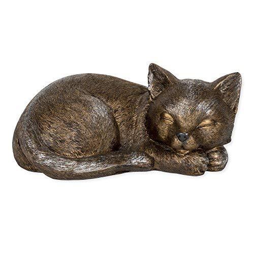 Roman Sleeping Cat Bronze Finish Indoor/Outdoor Decorative Stone Statue (Cat Garden Statues)