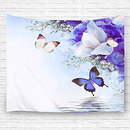 Toalla de baño 30 x 60 cm mariposas y flores color morado toallas de playa de