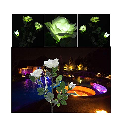 Stem Path Mount Light (JAWM Discoloration Outdoor Solar Powered White Rose LED Solar Flower Light, LED Landscape Ground Mount Lamp Garden Decoration)