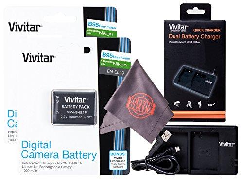 2 Pack Vivitar EN-EL19 Ultra High Capacity Rechargeable 1000mAh Li-ion Batteries + Vivitar Dual Charger + Microfiber Lens Cleaning Cloth for NIKON Coolpix Cameras (Nikon EN-EL19 Replacement) by Vivitar