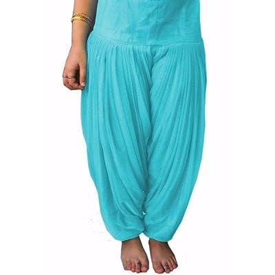 Lakkar Haveli - Pantalones Indios para Mujer, Informales, 100% algodón, Color Turquesa, Estilo étnico, Talla Grande Azul Turquesa 42: Ropa y accesorios