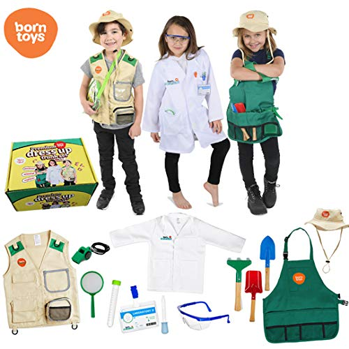 Born Toys Deluxe Premium Washable Dress up Trunk Set.Explorer kit,Garden Set, Scientist Costume,Dr or Vet Costume and Kits for Toddlers and Kids Boys and Girls Ages 3-8 Costumes -