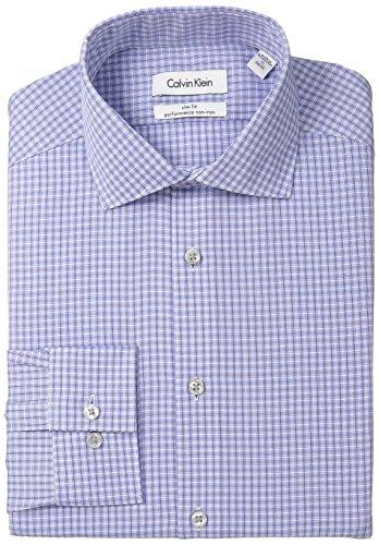 "UPC 781910532040, Calvin Klein Men's Slim Fit Non-Iron Check Shirt, Sapphire, 17"" Neck 36""-37"" Sleeve"