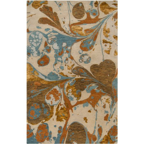 Surya Banshee BAN-3312 Contemporary Hand Tufted 100% New Zealand Wool Ivory 5' x 8' Abstract Area - Ivory Ban