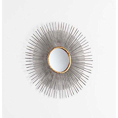 Antiqued Silver Leaf Sunburst Round Modern Wall Mirror - Silver Leaf Antiqued