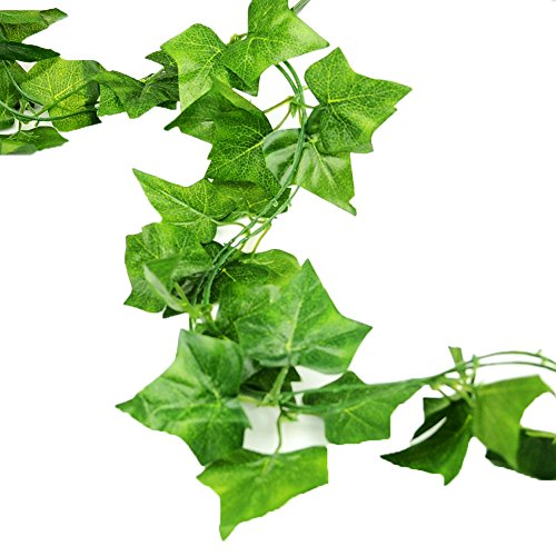LEFV™ Ivy Garland 6 Feet Long Artificial Vine Plant Leaves English Ivy Silk Greenery Chain Wedding Party Supplies Garlands Home Garden Wall Decoration Sweet Potato Leaf, Pack of ()