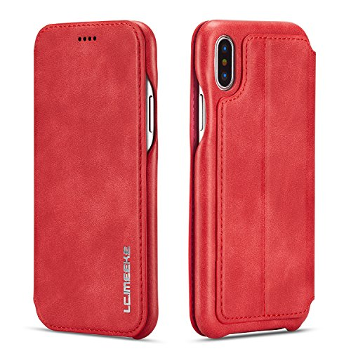 QLTYPRI iPhone XR Case, Vintage Slim Magnetic Closure PU Leather Case with Stand Function & Credit Card Slot Holder Shockproof Flip Wallet Cover for iPhone XR (6.1 inch) - Red - Flip Red Cover