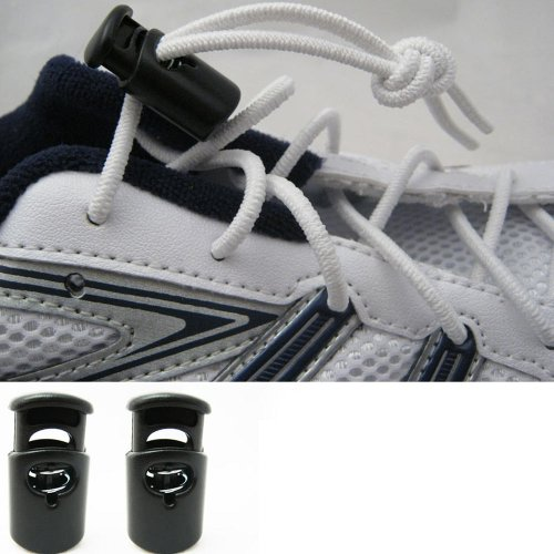 10pcs Shoe Lace Shoelace Buckle Rope Clamp Cord Lock Stopper Run Sports Black yx