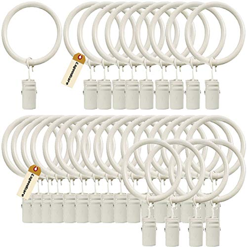 (Lsgoodcare Set of 30 Decorative Metal Drapery Curtain Rings with Clips-1 Inch Interior Diameter, White Clip Rings for Curtain(Premium Iron)