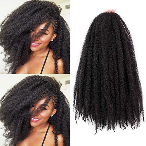 Marley Braiding Hair Synthetic Afro Kinky 3Pcs/Lot Marley Hair for Twists 18 Inch Marley Twist Braiding Hair Extensions (1B#) (The Best Marley Hair)
