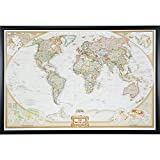 map of the world poster - Craig Frames Wayfarer, Executive World Push Pin Travel Map, Gallery Black frame and Pins, 24 by 36-Inch