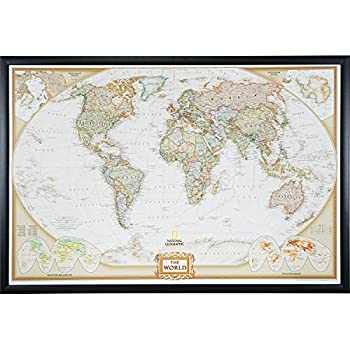 Amazon executive world push pin travel map with black frame craig frames wayfarer executive world push pin travel map gallery black frame and pins 24 by 36 inch gumiabroncs Image collections