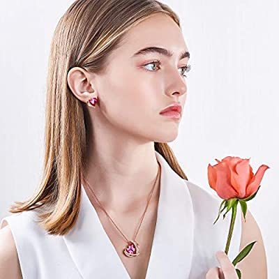"""CDE """"Pink Angel 18K Rose Gold Jewelry Set Women Heart Pendant Necklaces and Stud Earrings Sets Crystals from Swarovski for Her"""