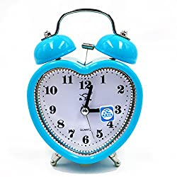 Kennedy 3 Retro Heart Shaped Alarm Clock Silent Non Ticking Bedside/Desk Travel Clock Twin Bell Alarm Clock with Nightlight