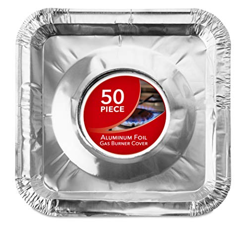 Gas Burner Liners (50 Pack) Disposable Aluminum Foil Square Stove Burner Covers - 8.5 Inch Gas Range Protector Bibs Keep Stove Clean - Foil Liners to Catch Oil, Grease and Food Spills