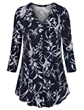 Laksmi Womens Floral Tunic Tops 3/4 Sleeve V Neck Pleated Casual Tunic Blouse