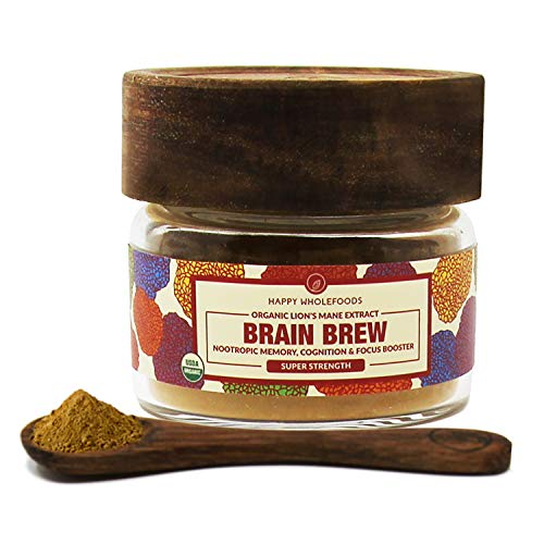Brain Brew Lions Mane Powder - Lions Mane Mushroom Extract - High Potency USDA Certified Organic Lions Mane - Boosts Memory, Optimizes Brain Function, Improves Nerve Health - 1oz (30g)