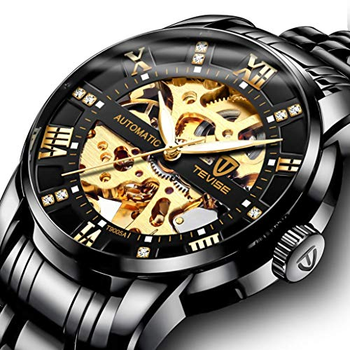 Men's Watch Black Luxury Mechanical Stainless Steel Skeleton Waterproof Automatic Self-Winding Luminous Diamond Dial Wrist ()